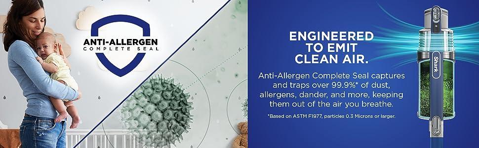 anti-allergen vacuum, hepa vacuum, hepa filter, clean air vacuum, anti-allergen complete seal