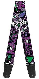 Joker Laughing Purple Green Black Spade Cards Acoustic electric guitar strap