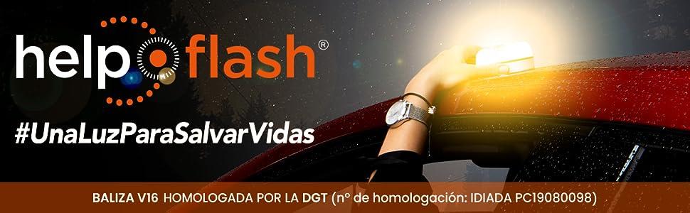 Help Flash V2.0 Baliza V16 Botón programar Activar Automática Magnética Manual Test pila Luz blanca