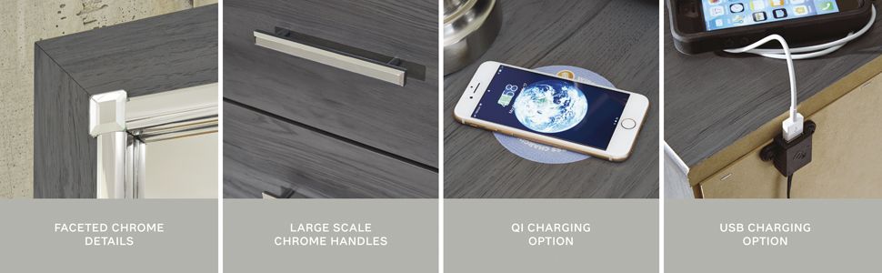 chrome accent Qi charging pad usb charge ports outlet outlets contemporary phone large scale details