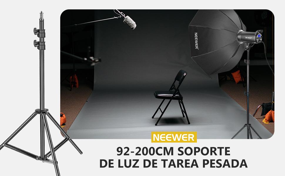 Neewer Soporte de Luz para Trabajo Pesado, 92-200cm Soporte Fotográfico Ajustable Trípode Robusto para Reflectores, Cajas de Luz, Luces, Paraguas, Capacidad Carga 8kg: Amazon.es: Electrónica