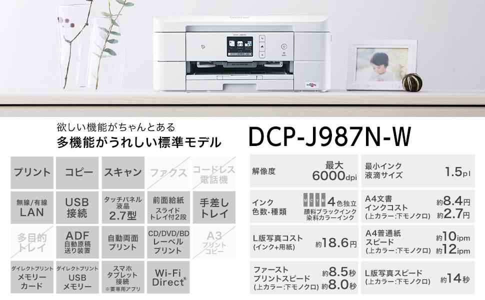 DCP-J987N 見出し プリンター複合機スペック