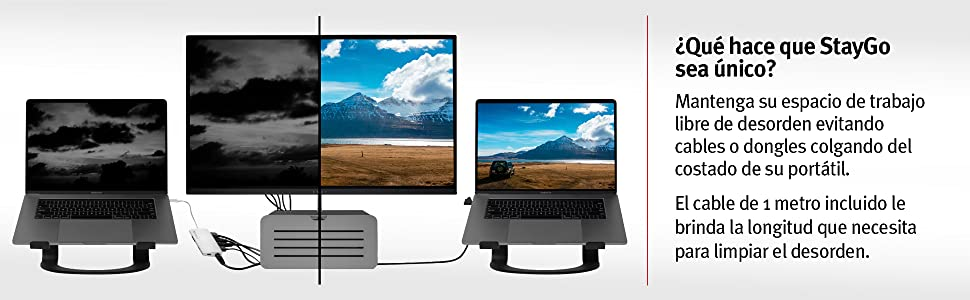 port/átiles y iPad Pro con Cable de Escritorio de 1 Metro Incluido la Oficina y los Viajes Hub USB-C para MacBooks Tipo C Cable de Viaje para el hogar Twelve South StayGo