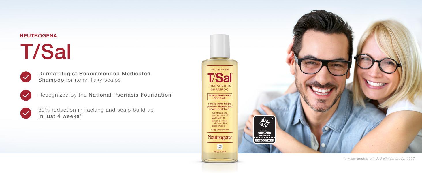 Amazon Com Neutrogena T Sal Therapeutic Shampoo For Scalp Build Up Control With Salicylic Acid Scalp Treatment For Dandruff Scalp Psoriasis Seborrheic Dermatitis Relief 4 5 Fl Oz Pack Of 6 Hair Shampoos