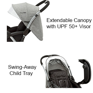 jeep sroller extendable european style canopy sun visor upf protection swing away child tray