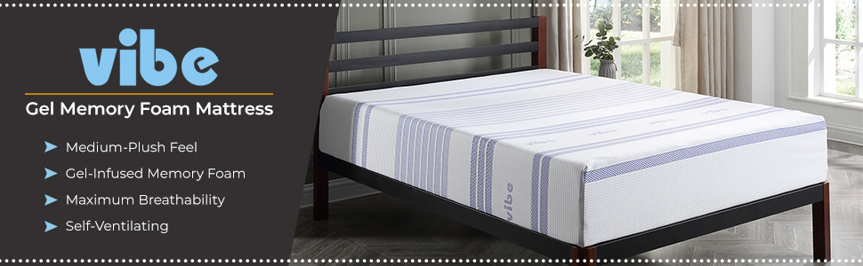 Vibe,Classic Brands, Queen 12 Inch gel memory foam mattress, queen mattress,