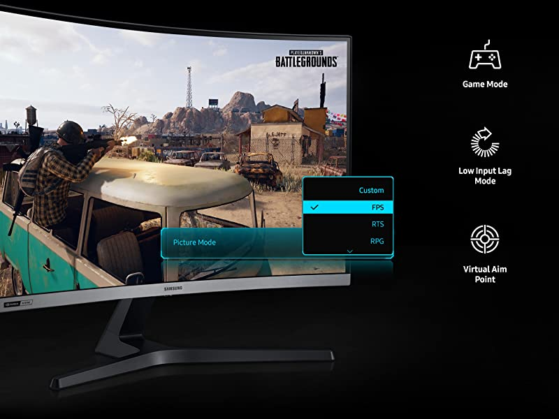 Samsung CRG5 Monitor featuring Game Mode, Low Input Lag Mode and Virtual Aim Point
