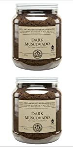 Dark Muscovado Sugar Canister Two pack