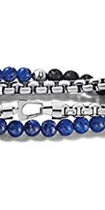 Bulova classic double wrap semi precious bead and box-chain bracelet, lapis, black lava