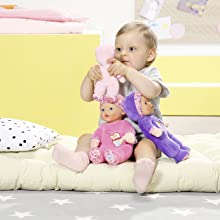 fd4baceecd The 26cm BABY born First Love has an integrated rattle. Suitable from birth.  Doll can be hand washed at 30°C.