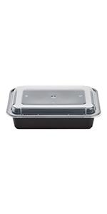 Karat 38 oz Black PP Microwavable Rectangular Food Containers amp; Lids