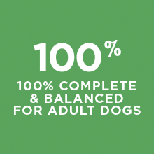 One hundred percent complete and balanced for adult dogs