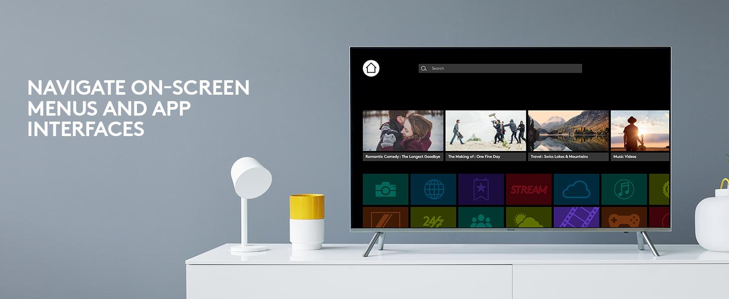 k600 - Navigate on-screen menus and app interfaces