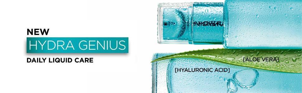 Hydra genius, liquid care, moisturiser, hyaluronic acid, aloe, skincare, aloe water, loreal