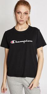 Champion, champion cropped tee, champion t-shirt, women's t-shirt, script tee, Champion script tee