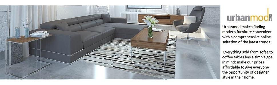 Amazon.com: urbanmod moderno reclinable piel seccional, Gris ...