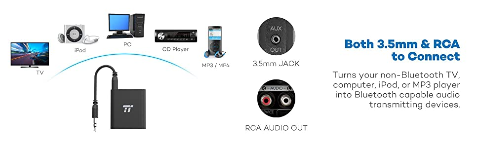 1 Transmitter for 2 Devices: Connects to two Bluetooth headphones, speakers, or even soundbars