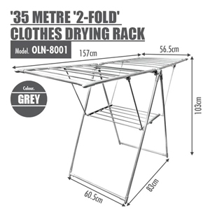 35 METRE '2-FOLD' CLOTHES DRYING AIRER RACK (GREY)