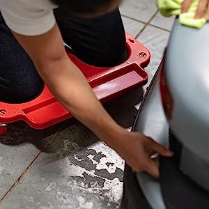 Vestil GoPlus Bucket Dolly Western Safety pads knee creeper rolling repair car detail floor MaxxHaul