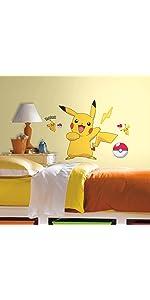 pokemon pikachu peel and stick wall decals, peel and stick wall decals