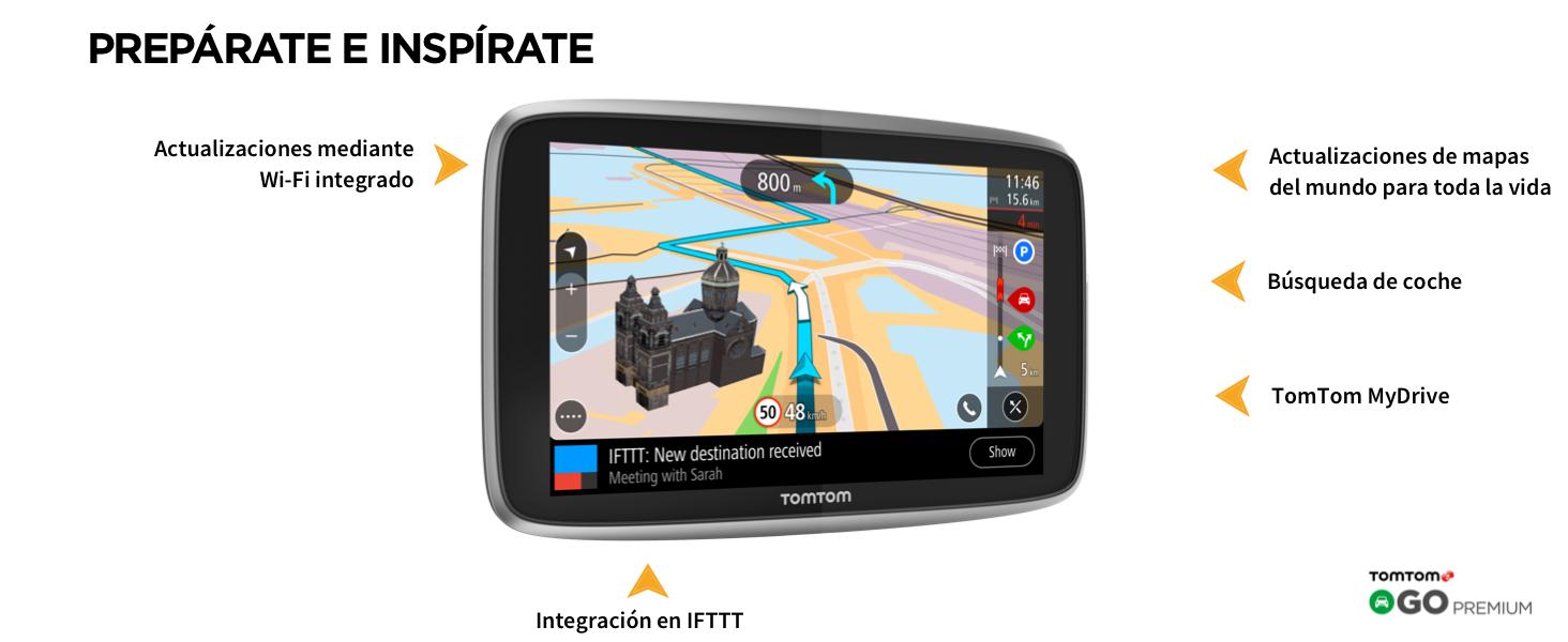 TomTom Go Premium - Navegador Gps 5´ con Actualizaciones via Wifi,Trafico y Radares para Toda la Vida Mediante Tarjeta Sim Incluida, Mapas del Mundo, ...