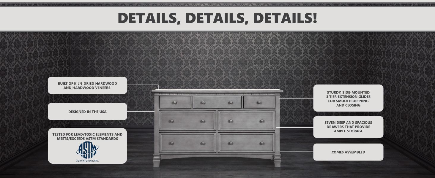 evolur,double dressers,dressers,dresser drawers,nursery storage,drawer chests,wood dresser,drawers