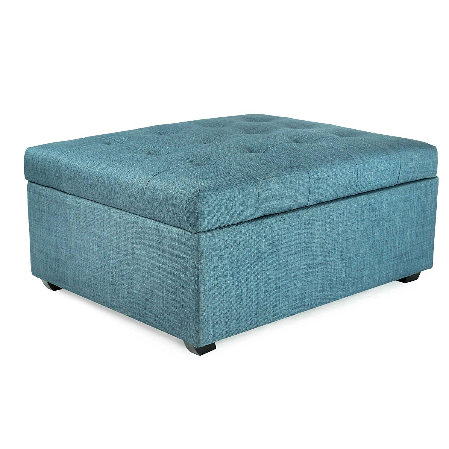 ibed convertible ottoman guest bed in blue fabric kitchen islands carts. Black Bedroom Furniture Sets. Home Design Ideas