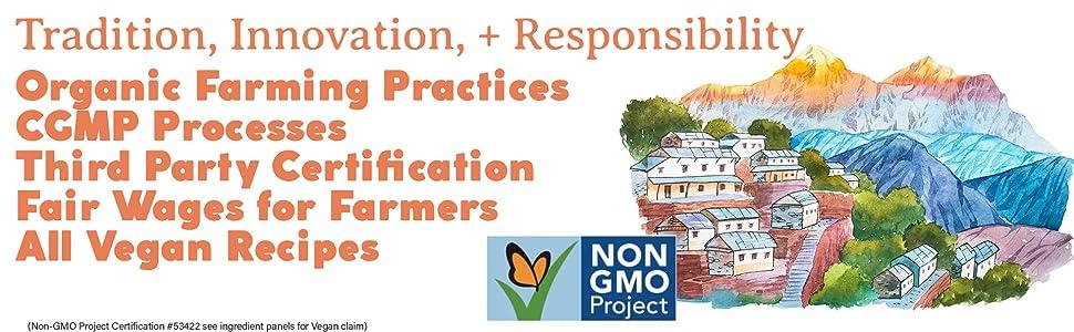 Fair trade, non-gmo, ethical company, fair wages, organic farming practices