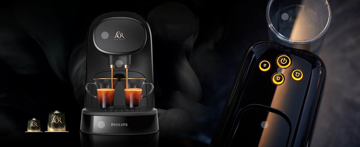 Pack Philips LOR Barista LM8012/60 - Cafetera compatible con cápsula individual/doble, 19 bares presión, depósito 1L, color negro + LOr Ristretto 5 ...