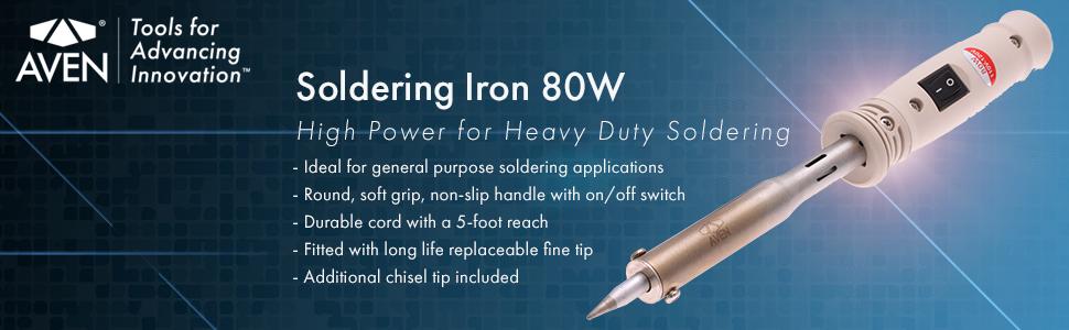 Soldering Iron W// Fine Tip 80-Watt Durable 5 ft.Cord Non Slip Handle Metal Board