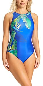 Zoggs Women's Hi Front, High Neck Eco Fabric One Piece