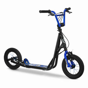 Mongoose Expo Youth Scooter, Front & Rear Caliper Brakes, Rear Axle Pegs, 12-Inch Inflatable Wheels