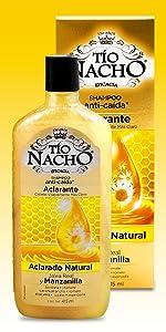 tío nacho, pelo, cabello, manzanilla, aclarante, shampoo