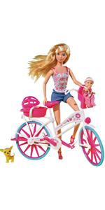 Simba 105739050 Steffi Love - Muñeca con bicicleta, bebé y accesorios [Importado de Alemania], modelo surtido: Amazon.es: Juguetes y juegos