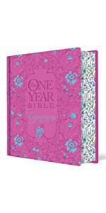 one year, daily devotional, hardcover, pink flowers, coloring bible, journaling, wide margins, pink