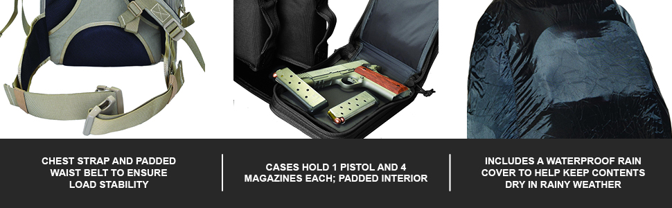 Chest Strap And Padded Waist Belt To Ensure Load Stability   Cases Hold 1 Pistol And 4 Magazine Each