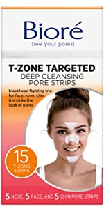 biore t-zone targeted deep cleansing pore strips for face, nose and chin blackhead removal