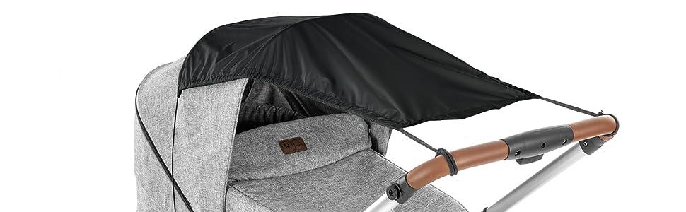 reer ShineSafe Sonnensegel f/ür den Kinderwagen schwarz Sonnenschutz f/ür viele Modelle