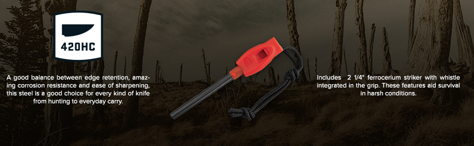 Buck Knives 835 Folding Selkirk Features 420HC Steel, Firestarter Whistle Ensures Survival Aid