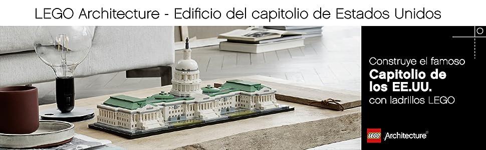 LEGO Architecture - Edificio del capitolio de Estados Unidos, Set de construcción del Emblemático Edificio de Estados Unidos (21030): Amazon.es: Juguetes y juegos