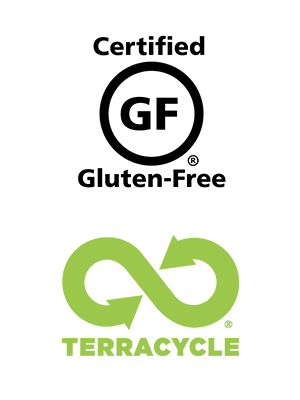 Recycle with TerraCycle and Certified Gluten-Free (GFCO) Logo