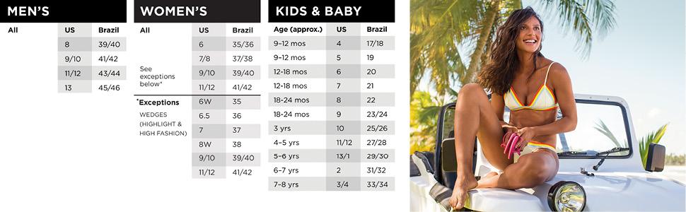 sizing charts brazil sizing US sizing kids mens and womens