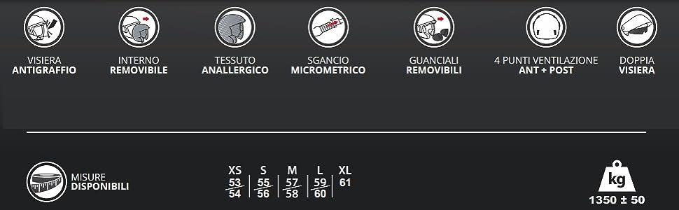 Silver BHR 93321 Casco Doppia Visiera Modello Double 709 M