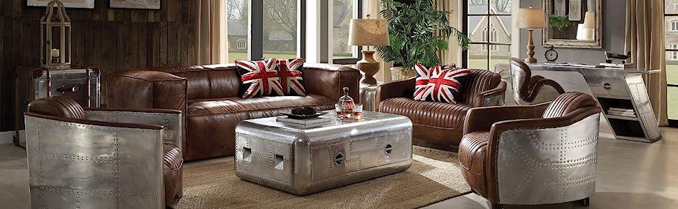 Sofa - 53545 - Retro Brown Top Grain Leather