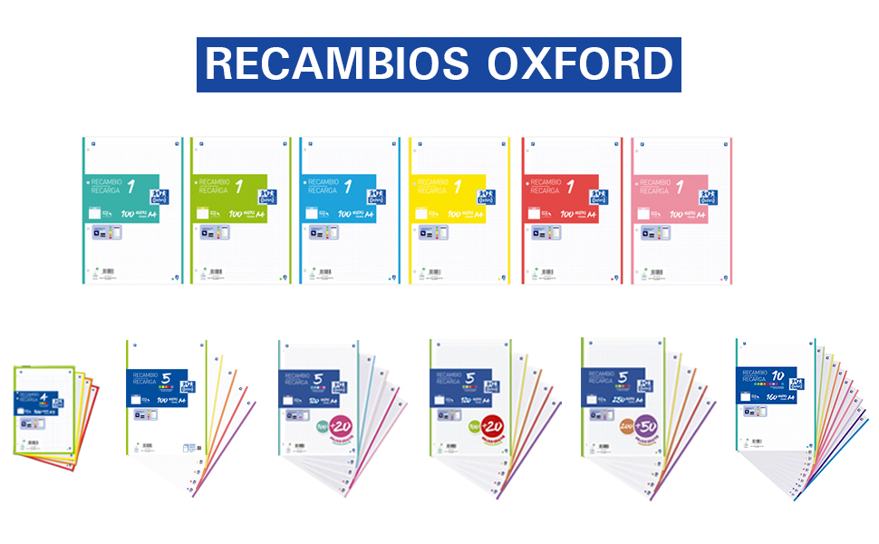 recambio Oxford, recambio, recambio colores, optikpaper, scribzee, hojas con taladros