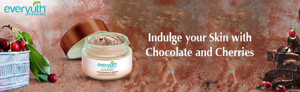 tan removal scrub, cherry scrub for tan, chocolate scrub for tan, everyuth tan removal scrub