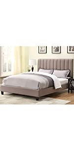 upholstered bed, all-in-one bed, taupe, queen, upholstered bed, pulaski