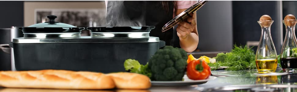 croc pot food warmer; food warmer set; food warmer server; convection oven table top; luch crockpot