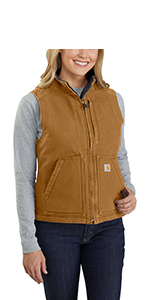 Carhartt Womens Relaxed Fit Washed Duck Sherpa Lined Mock Neck Vest Work Utility Outerwear
