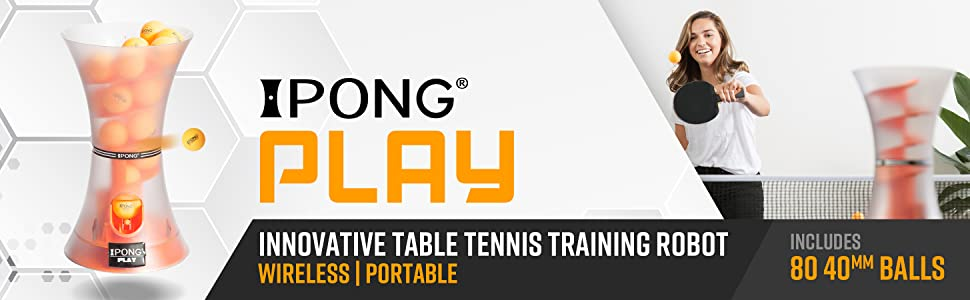 iPong Play innovative table tennis training robot wireless portable includes 80 40mm balls